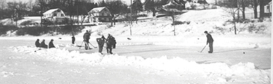 Playing Hockey at the Pond c.1948