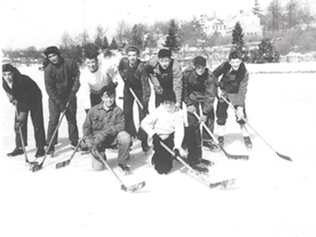 Hockey Players at the Pond c.1948